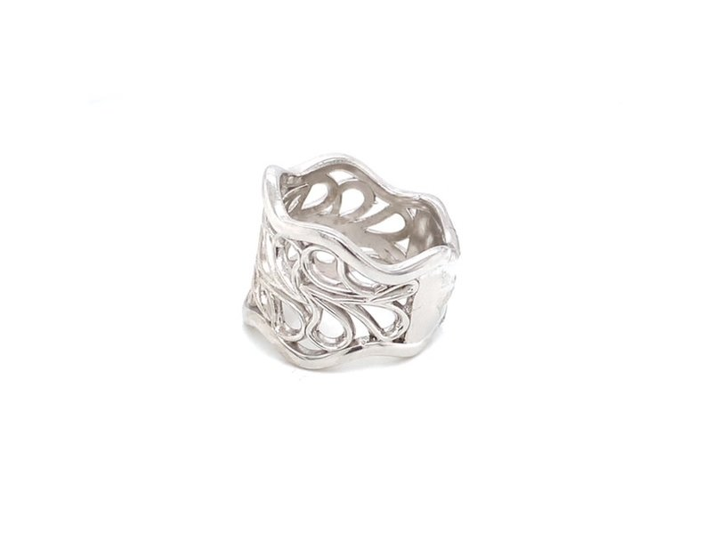 On The Edge Whirlwind Sterling Silver Wide Ring OTE