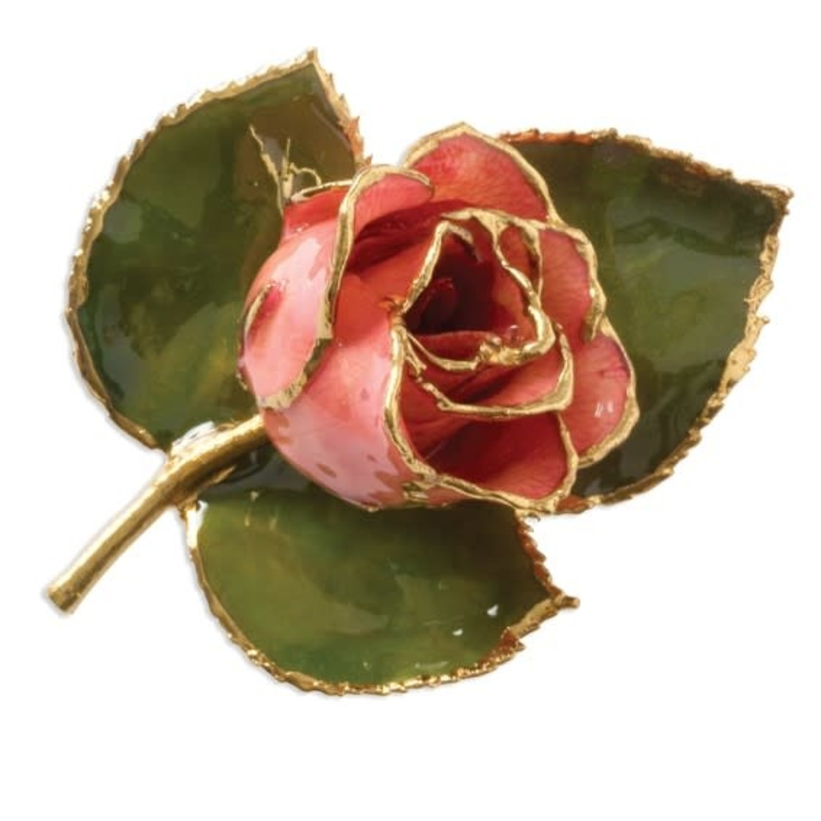 This Is Life Lacquer Dipped Pink Rose on Leaf Pin Brooch