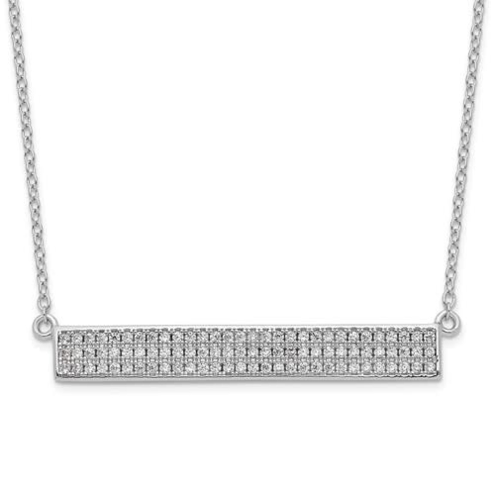 This Is Life Bar Necklace With CZs
