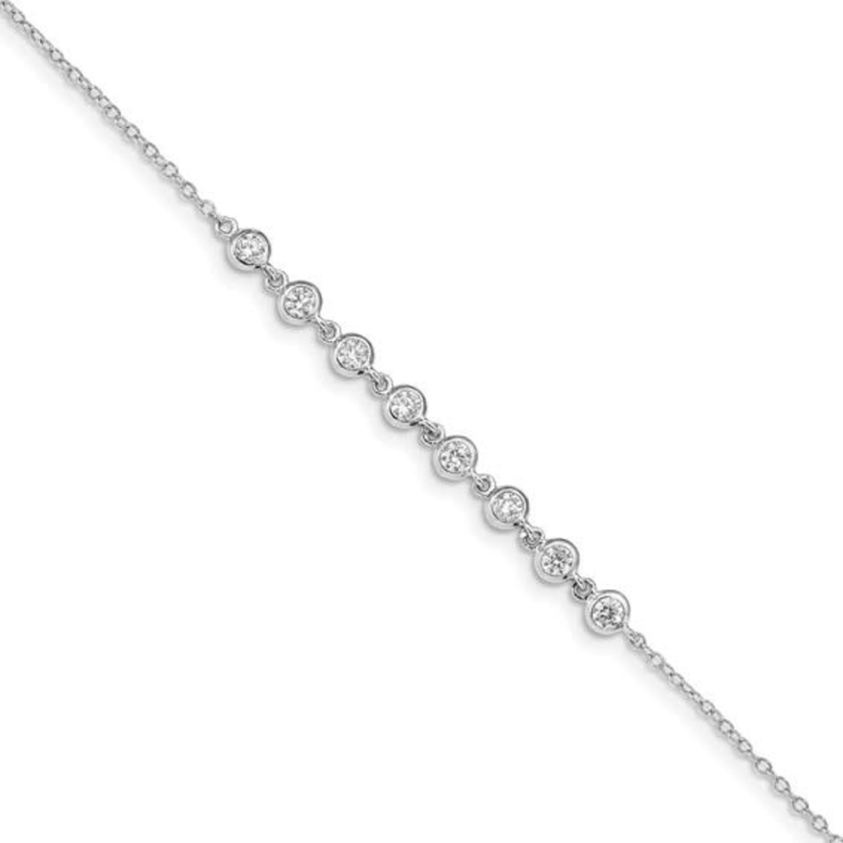 This Is Life CZ Bezel Set Sterling Silver Bracelet