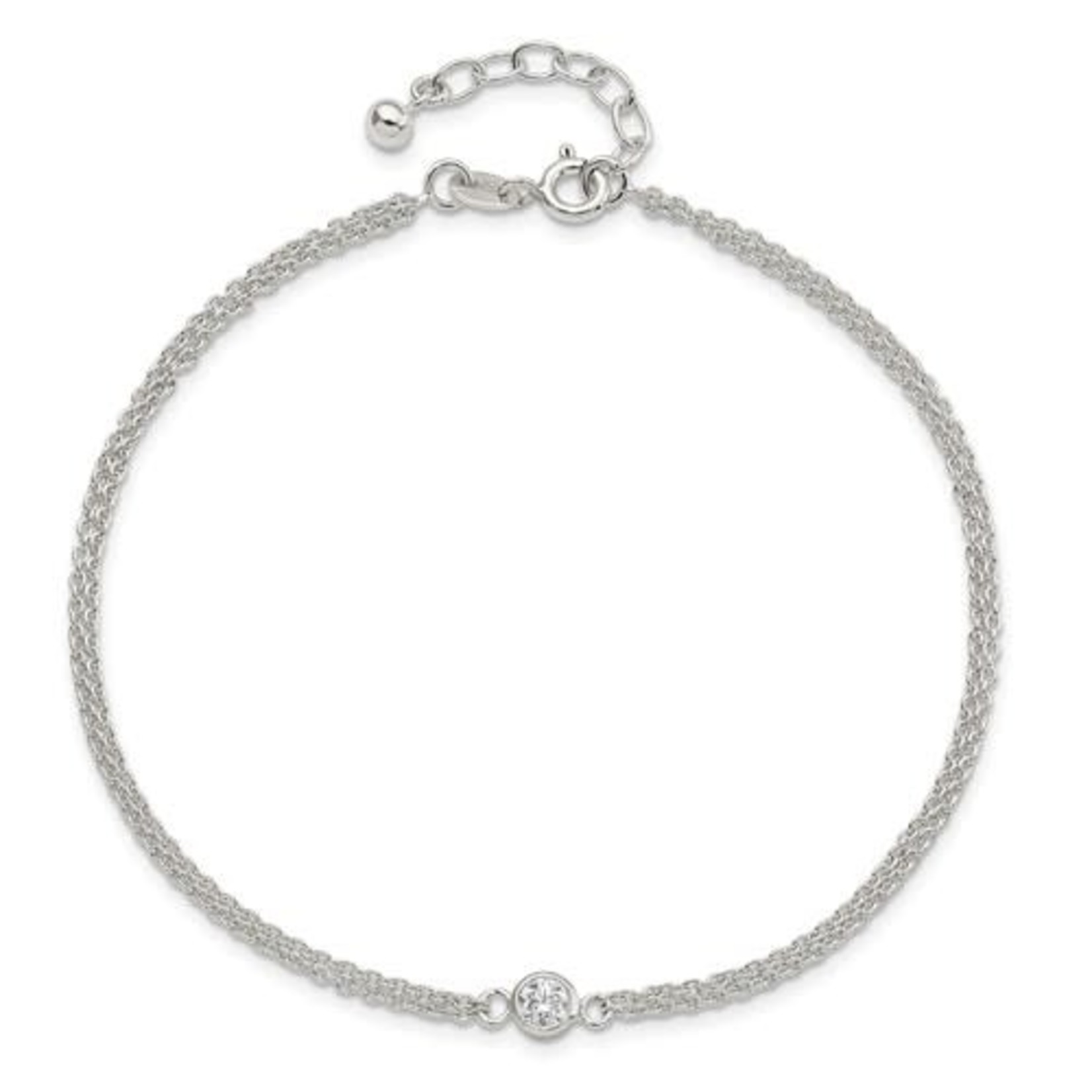This Is Life Sterling Silver Bezel CZ 2-Strand 9in Plus 1 in Ext. Anklet