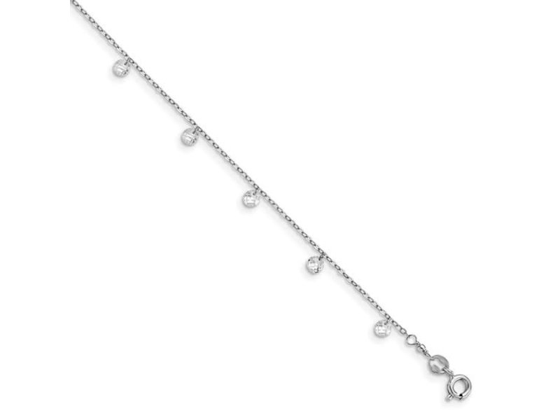 This Is Life Leslie's Sterling Silver Rhod-plated with 1.25 in ext. Crystal Anklet