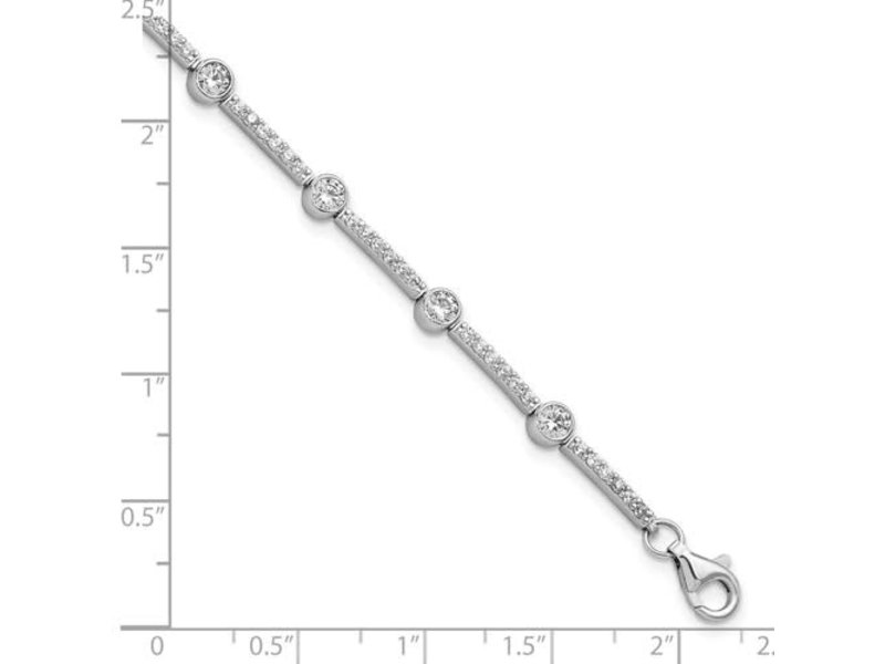 This Is Life Classy Lady CZ Bracelet - Sterling Silver 7""