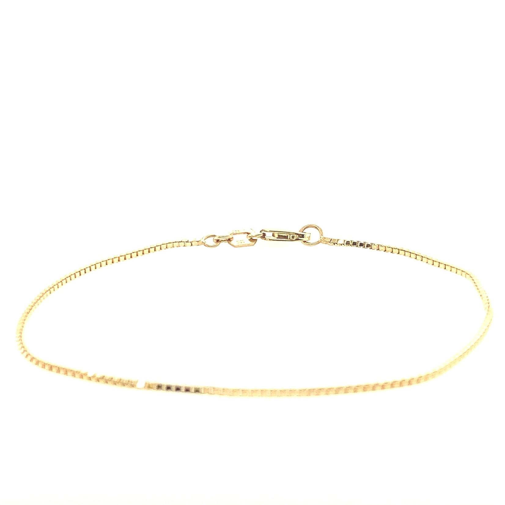 """10K Yellow Gold Box Bracelet - 7"""""""