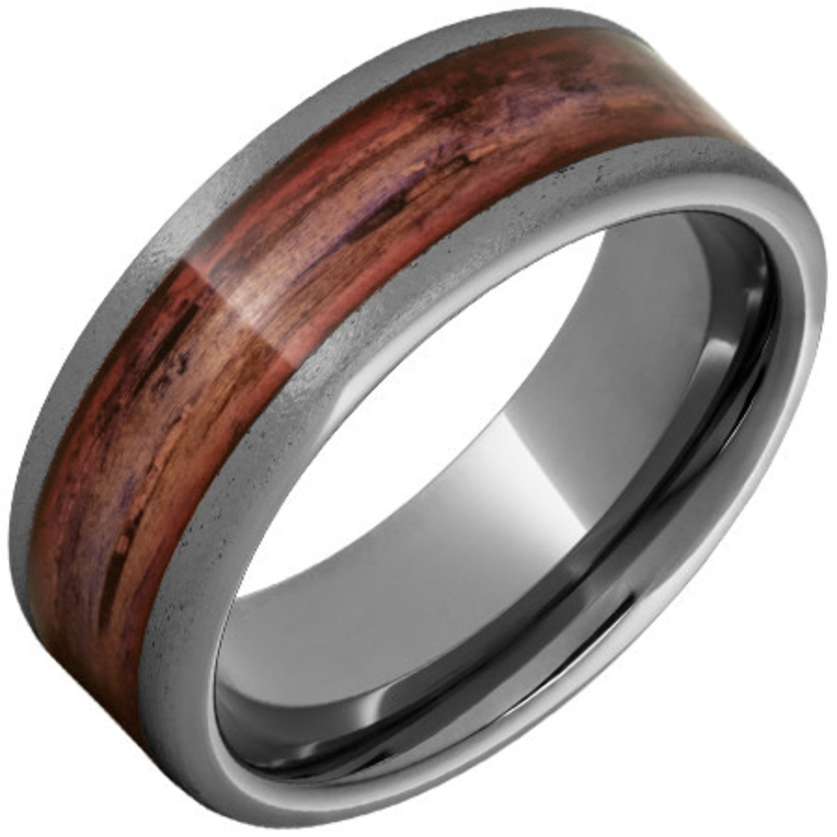 Serinium Wedding Bands Rugged Tungsten™ Flat Band with Cabernet Barrel Aged™ Inlay and Stone Finish