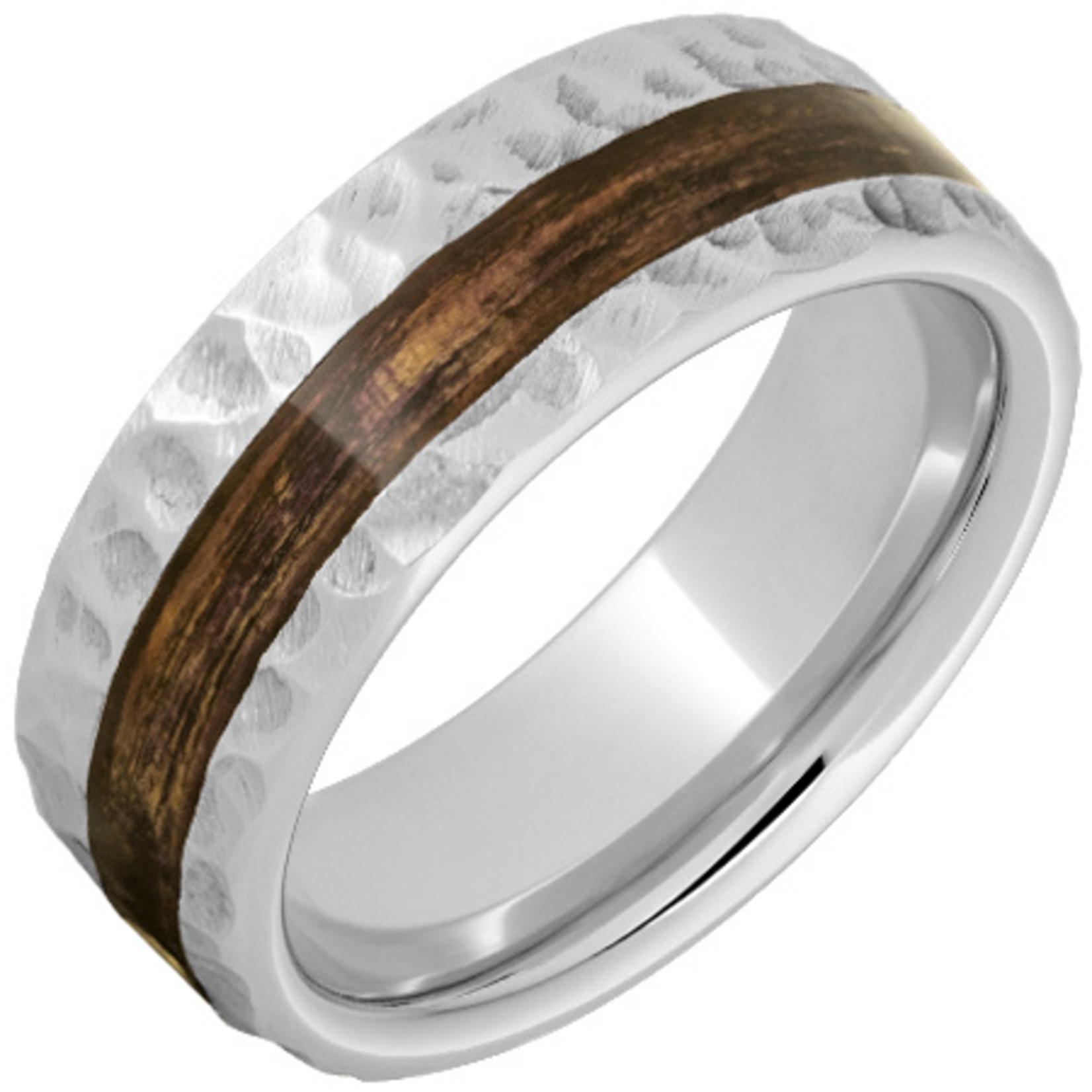 Serinium Wedding Bands Serinium® Pipe Cut Band with Off-Center Bourbon Barrel Aged™ Inlay and Moon Finish