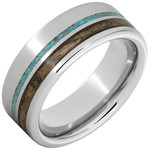 Serinium Wedding Bands Serinium® Pipe Cut Band with Off-Center Bourbon Barrel Aged™ & Turquoise Inlay