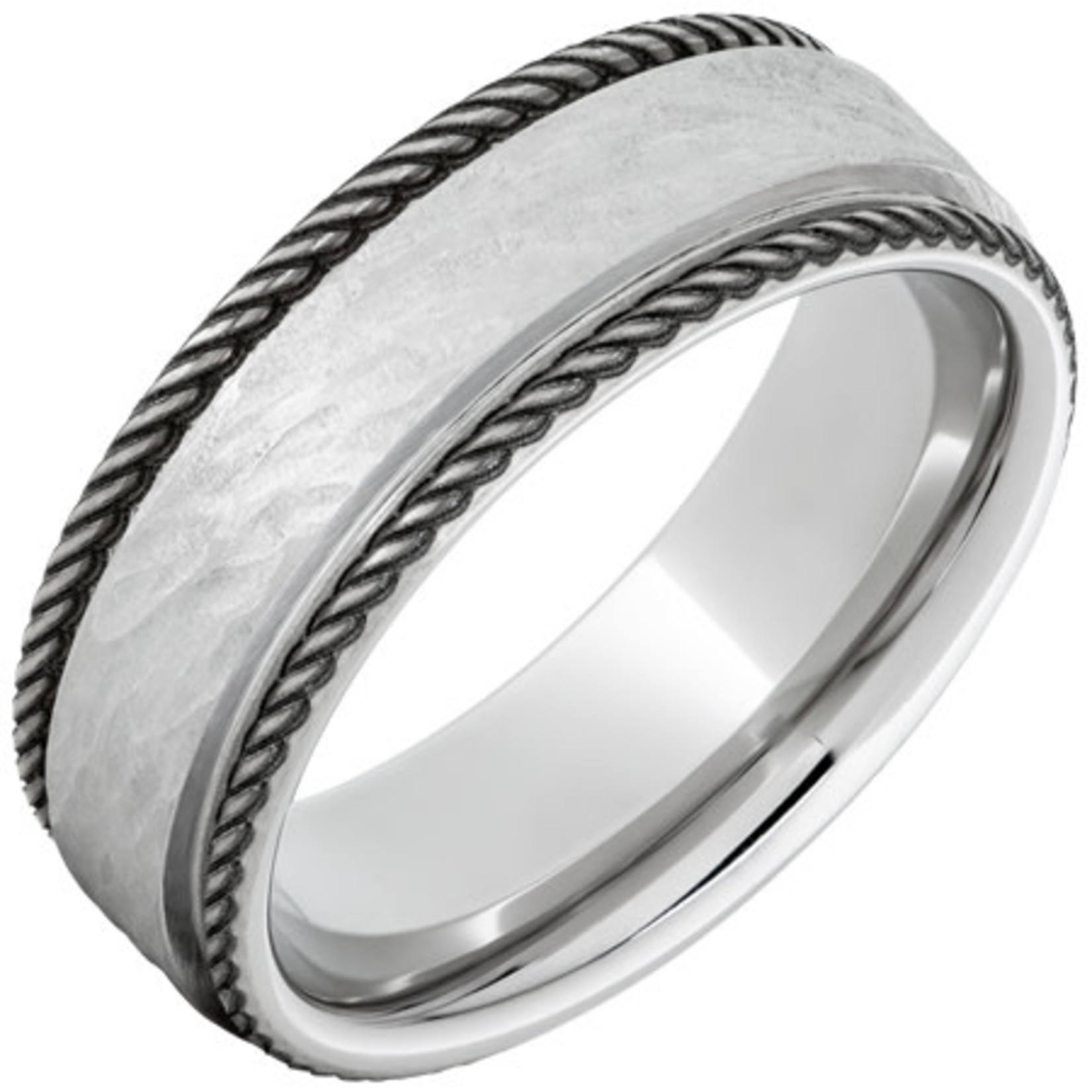 Serinium Wedding Bands Serinium® Flat Band with Rope-Style Rounded Edges and Bark Hand Finish