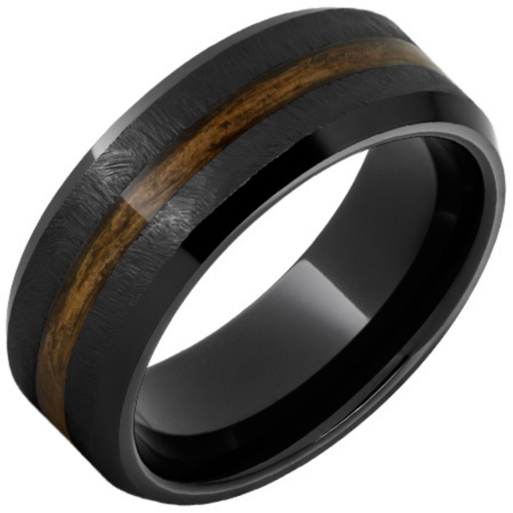 Serinium Wedding Bands Black Ceramic Beveled Edge Band with Bourbon Barrel Aged™ Inlay and Grain Finish