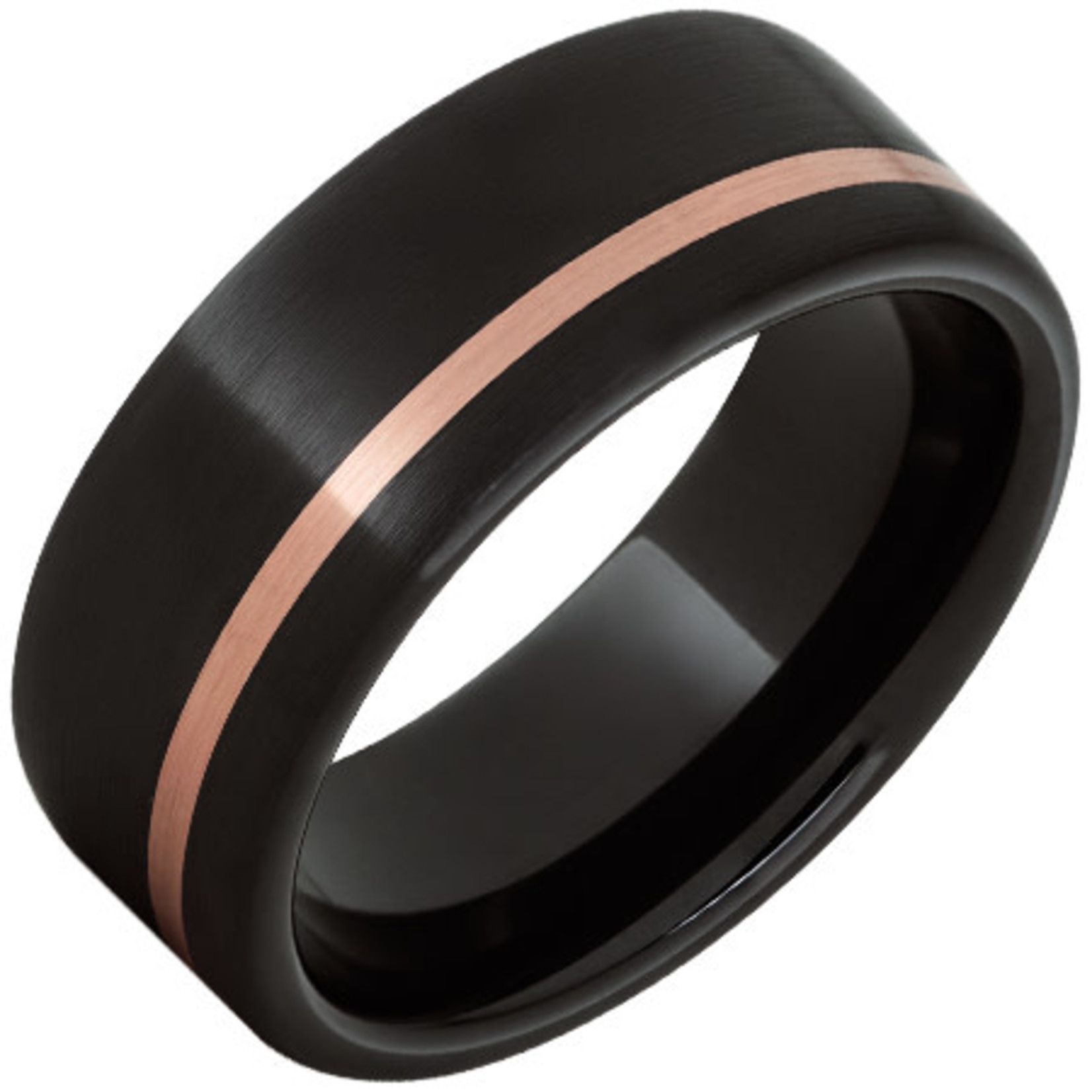 Serinium Wedding Bands Black Ceramic Pipe Cut Band with a 1mm Off-Center 14K Rose Gold Inlay