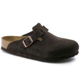 BIRKENSTOCK BOSTON SOFT FOOTBED SUEDE LEATHER-MOCHA