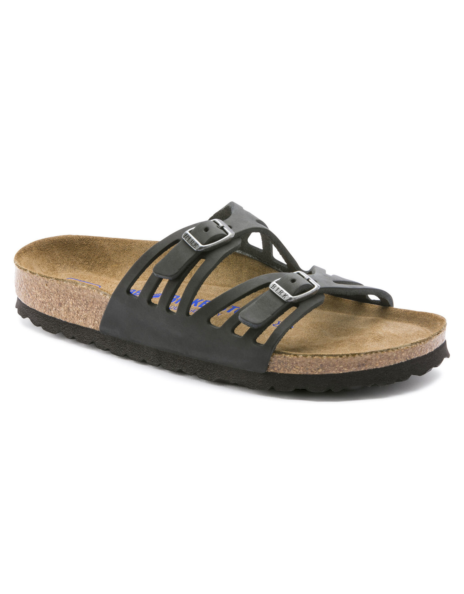 BIRKENSTOCK GRANADA SOFT FOOTBED OILED LEATHER-BLACK