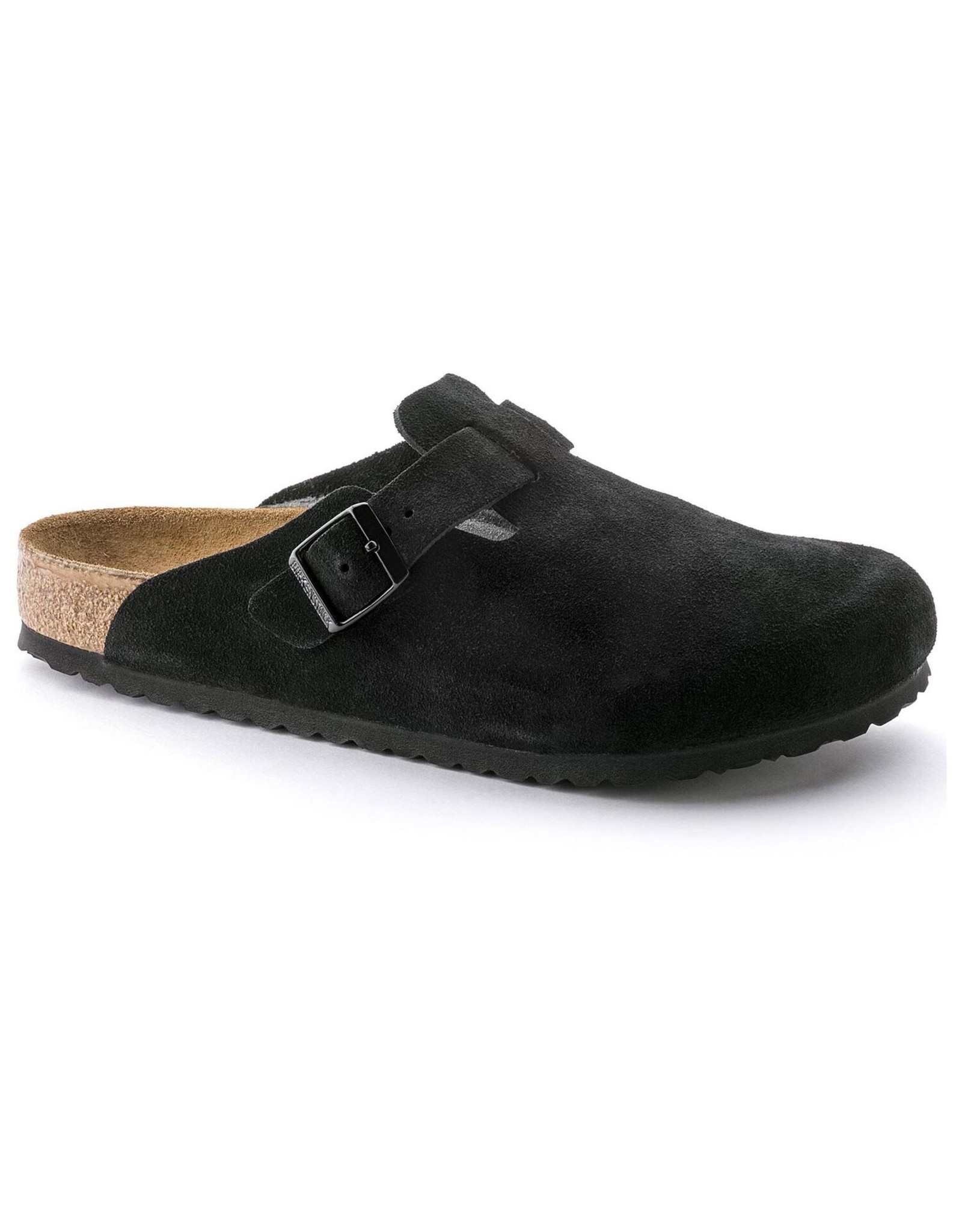 BIRKENSTOCK BOSTON SOFT FOOTBED SUEDE LEATHER-BLACK