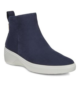 ECCO WOMEN'S SOFT 7 WEDGE CITY BOOT-NIGHT SKY NUBUCK