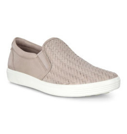 ECCO WOMEN'S SOFT 7 WOVEN SLIP ON-GREY ROSE