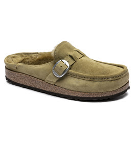 BIRKENSTOCK BUCKLEY SUEDE SHEARLING-OLIVE TREE
