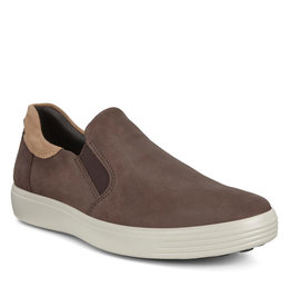 ECCO MEN'S SOFT 7 SLIP ON SNEAKERS-MOCHA/CASHMERE NUBUCK