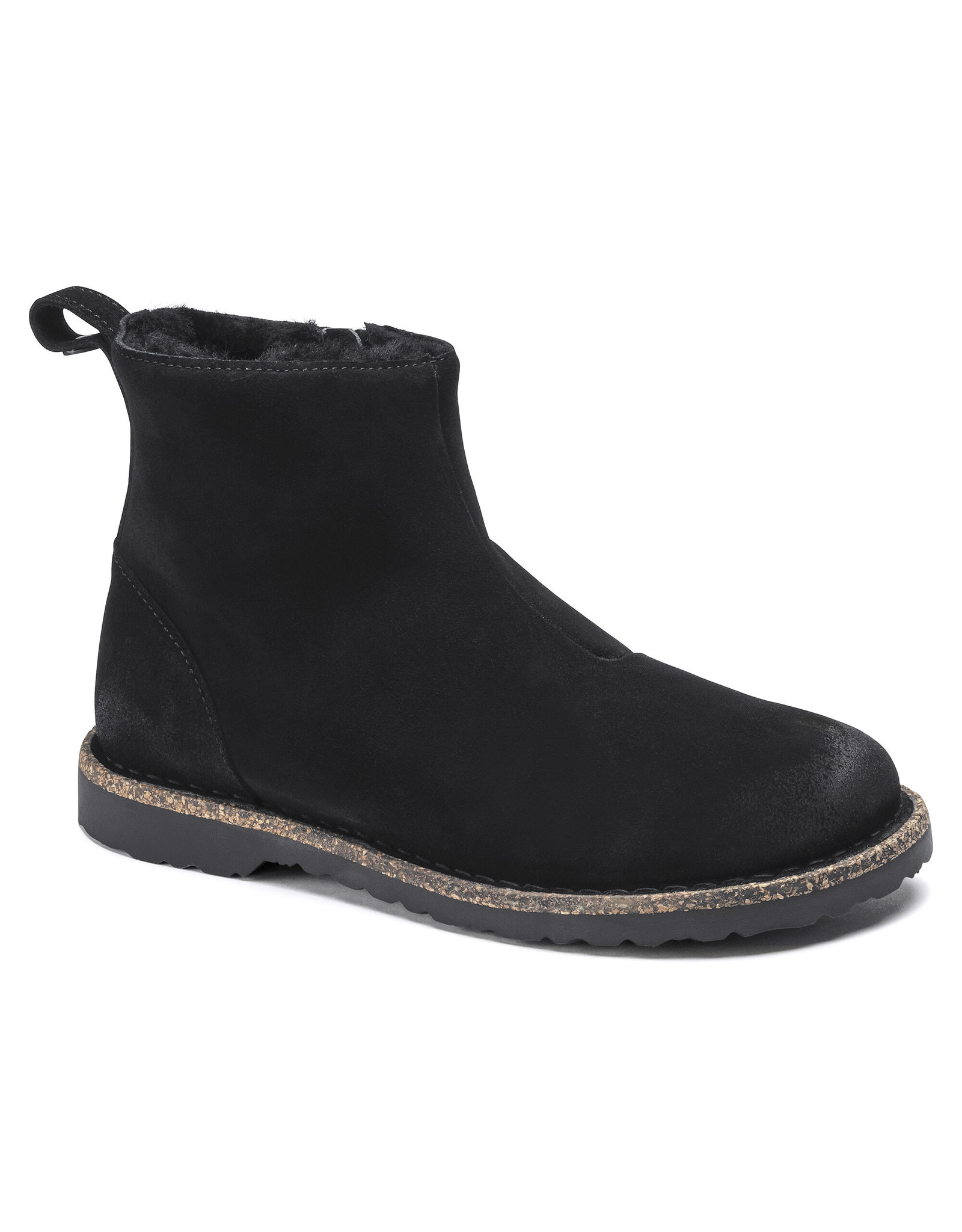 BIRKENSTOCK MELROSE SHEARLING SUEDE LEATHER-BLACK