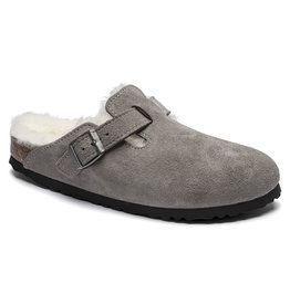 BIRKENSTOCK BOSTON SHEARLING SUEDE LEATHER-STONE COIN