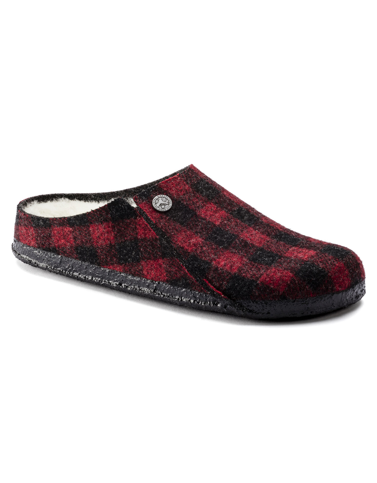 BIRKENSTOCK ZERMATT SHEARLING WOOL-PLAID RED