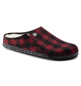 BIRKENSTOCK ZERMATT WOOL FELT SLIPPER-PLAID RED