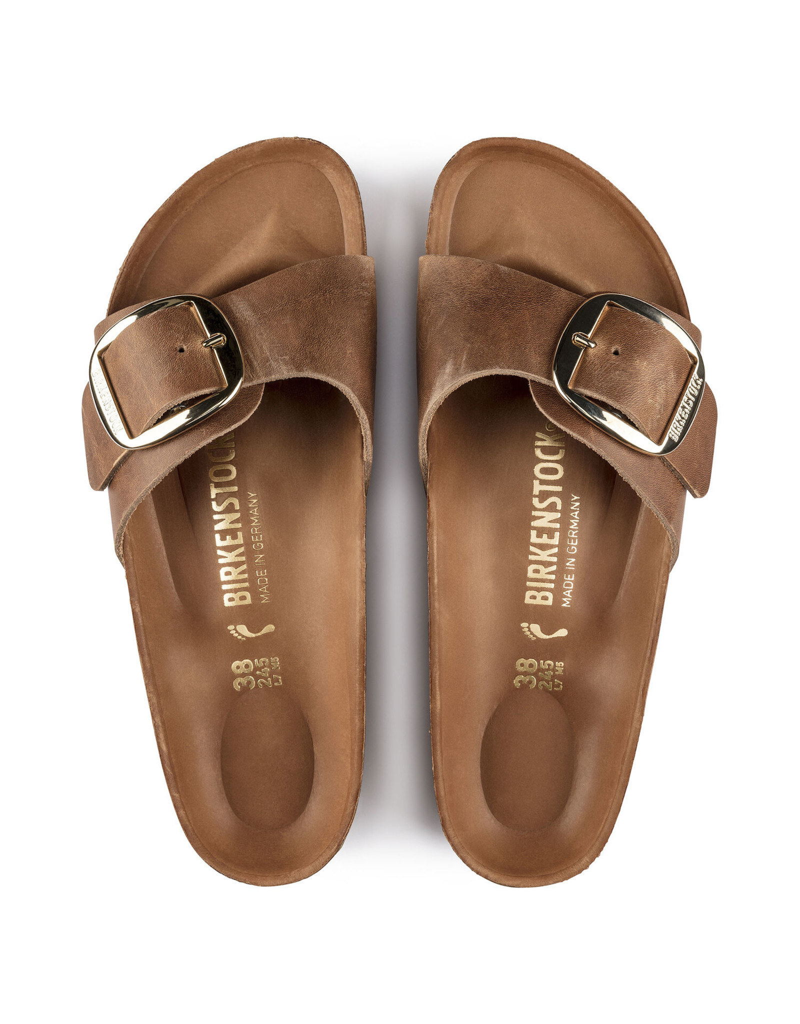 BIRKENSTOCK MADRID BIG BUCKLE OILED LEATHER-COGNAC