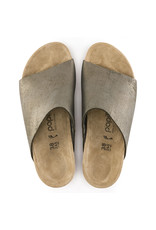 BIRKENSTOCK NAMICA SUEDE LEATHER-WASHED METALLIC STONE GOLD