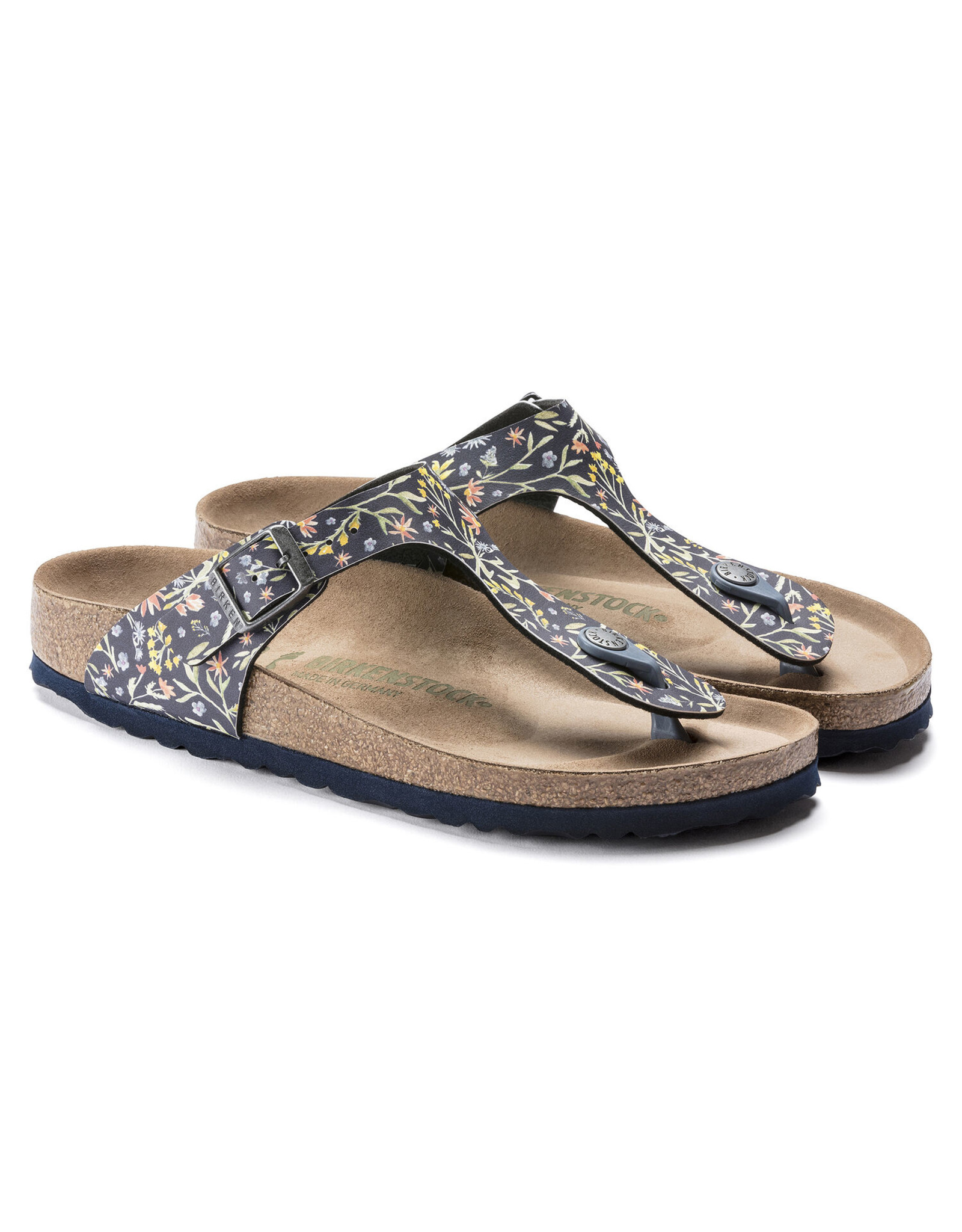 BIRKENSTOCK GIZEH VEGAN BIRKO-FLOR-WATERCOLOR FLOWER NAVY