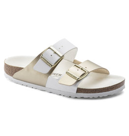 BIRKENSTOCK ARIZONA SPLIT BIRKO-FLOR-WHITE/GOLD