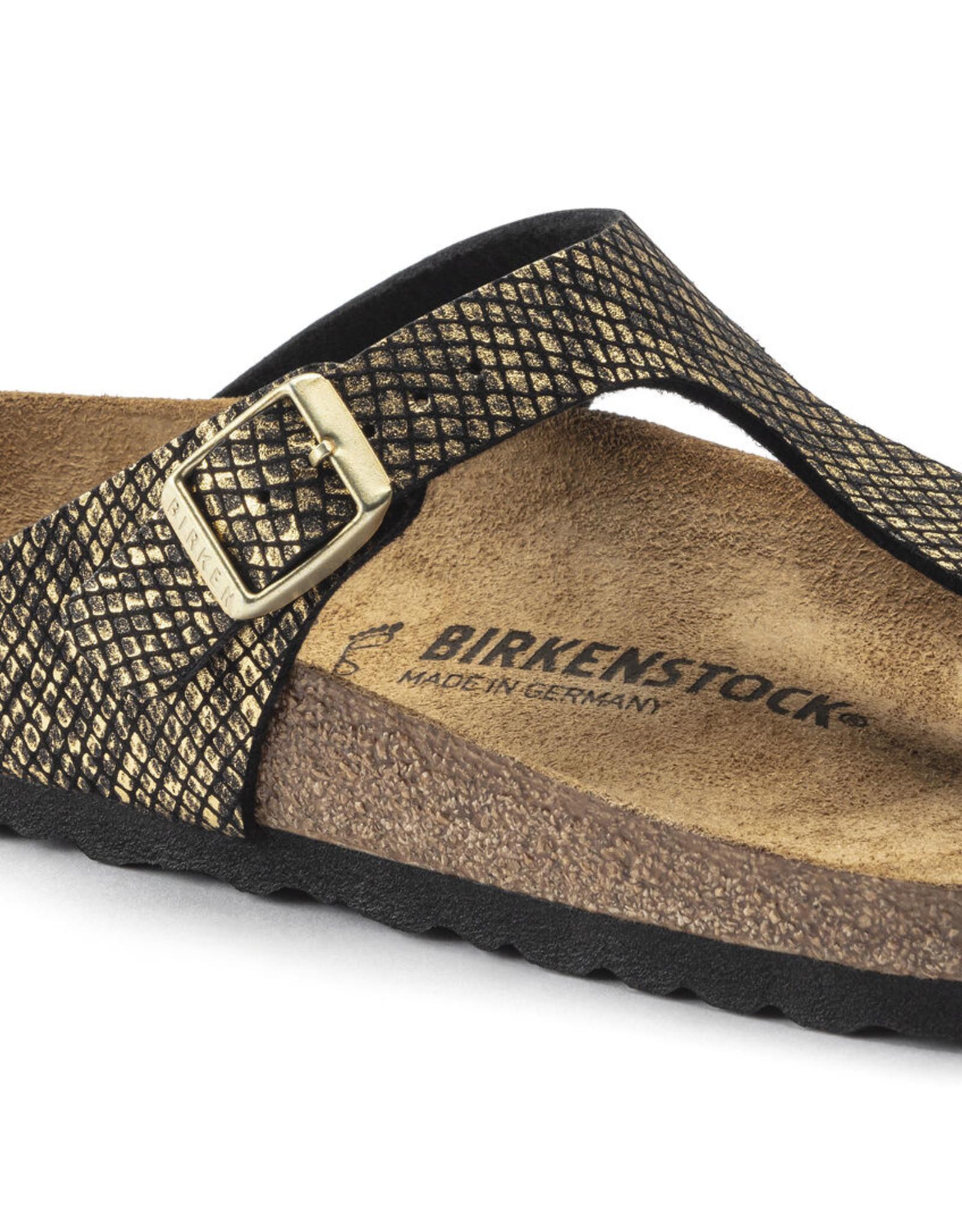 BIRKENSTOCK GIZEH MICROFIBER-SHINY PYTHON BLACK