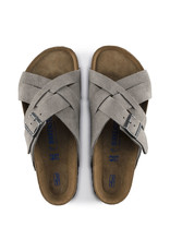BIRKENSTOCK LUGANO SOFT FOOTBED SUEDE LEATHER-STONE COIN