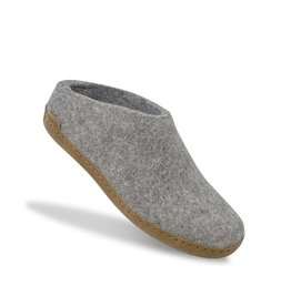 GLERUPS SLIP-ON LEATHER SOLE SLIPPER-GREY