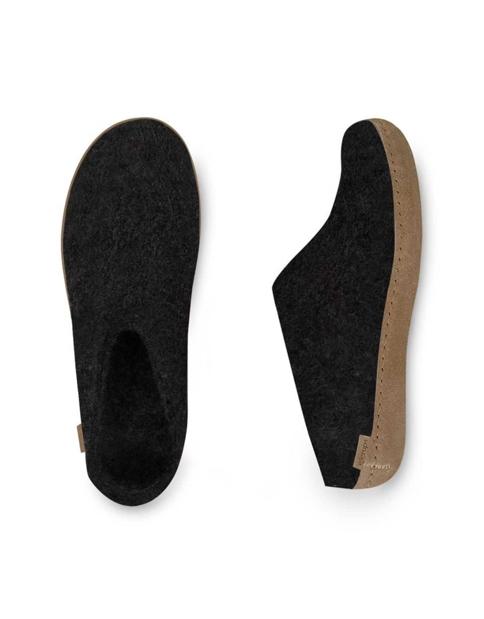 GLERUPS SLIP-ON LEATHER SOLE SLIPPER-CHARCOAL