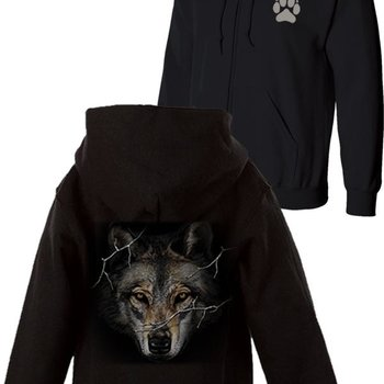 Monashee Outdoors Big Head Wolf Prowl with Paw Full Zip Sweatshirt