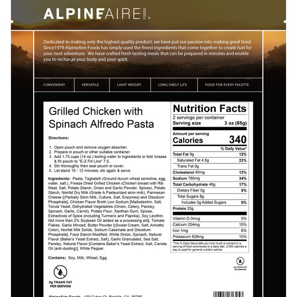 AlpineAire Grilled Chicken with Spinach Alfredo Pasta