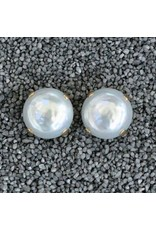 Francoise Montague FMontague: White Pearl Button w/Gold