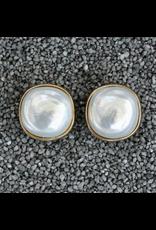 Francoise Montague FMontague: White Pearl Button w/gold