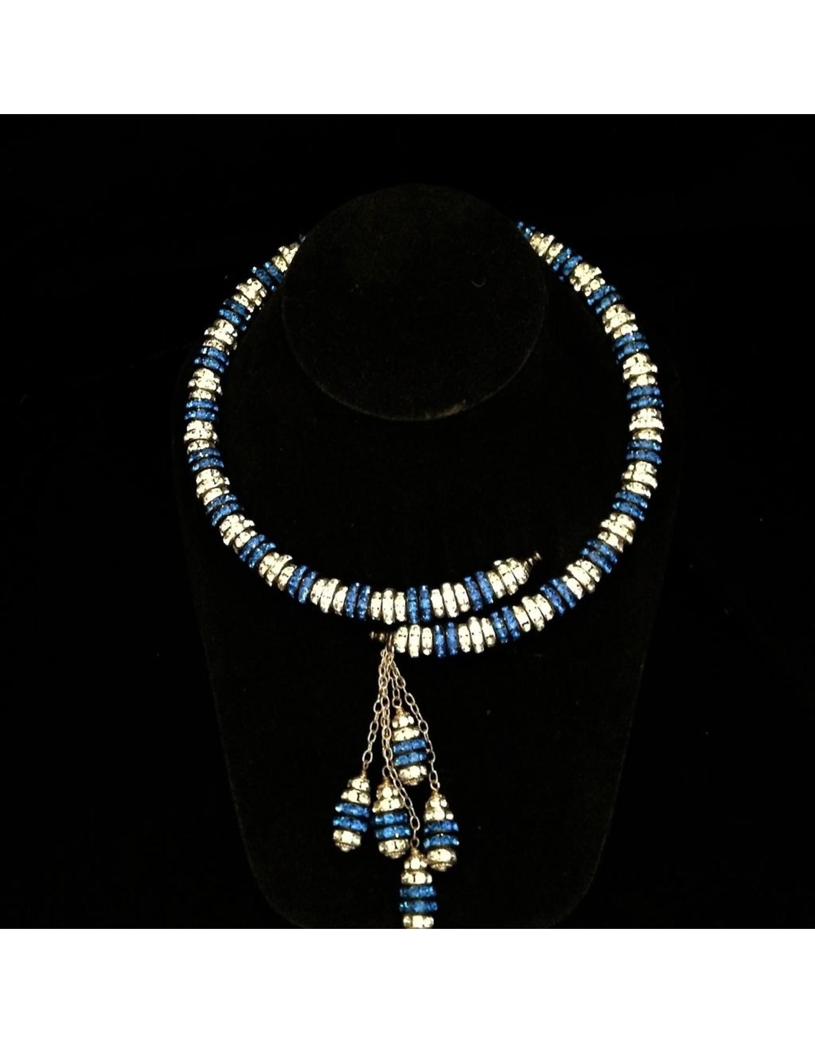 Francoise Montague Yasmin Wrap in Cobalt & Silver