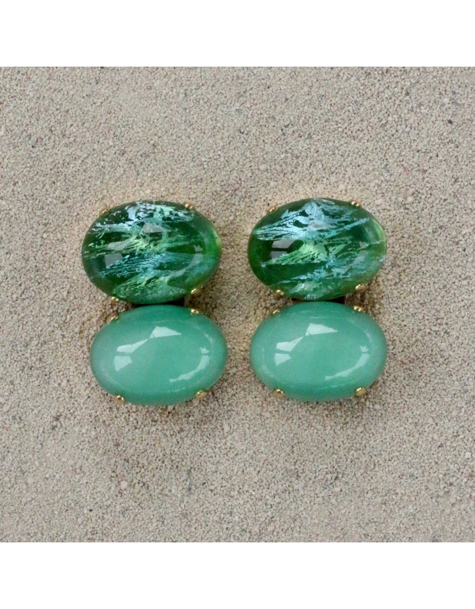 Jean Louis Blinn Blinn: Two Stone Oval Jade