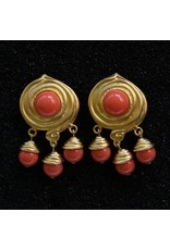 Kenneth Jay Lane KJLane: Swirl & Droplets Coral & Gold