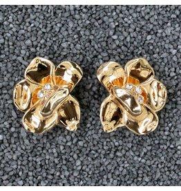 VC Italy Gold Flower Clip Earring