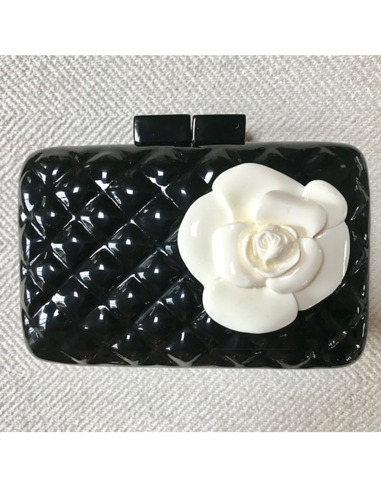 Sea Lily VCElusives: Black Quilted Clutch with Flower