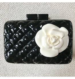 Sea Lily Black Quilted Clutch with Flower