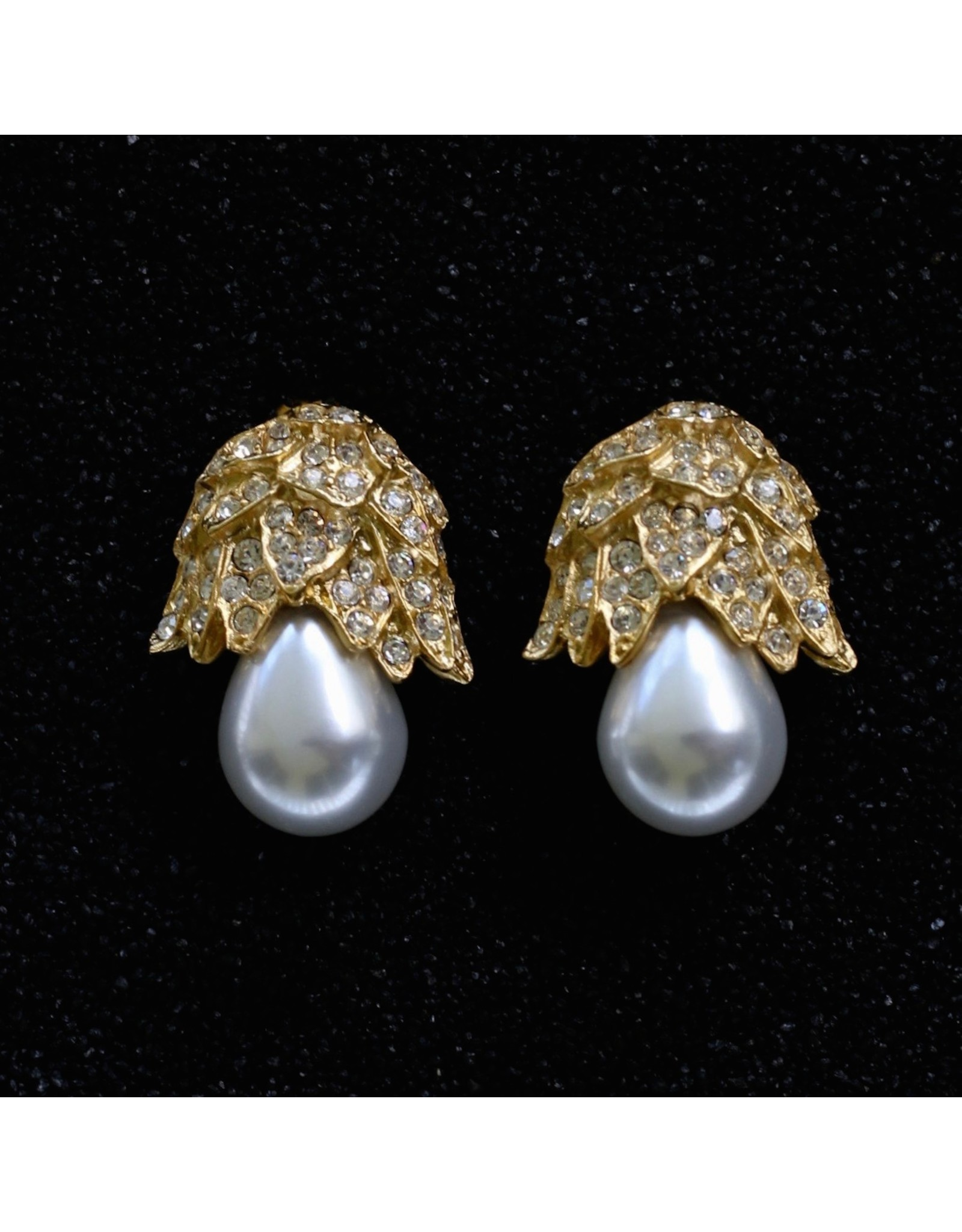 Kenneth Jay Lane Pearl Drop with Gold Pave