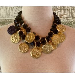 Angela Caputi 2 Strand Black and Gold Coins