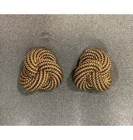 VC Italy Black and Gold Twist Clip Earring