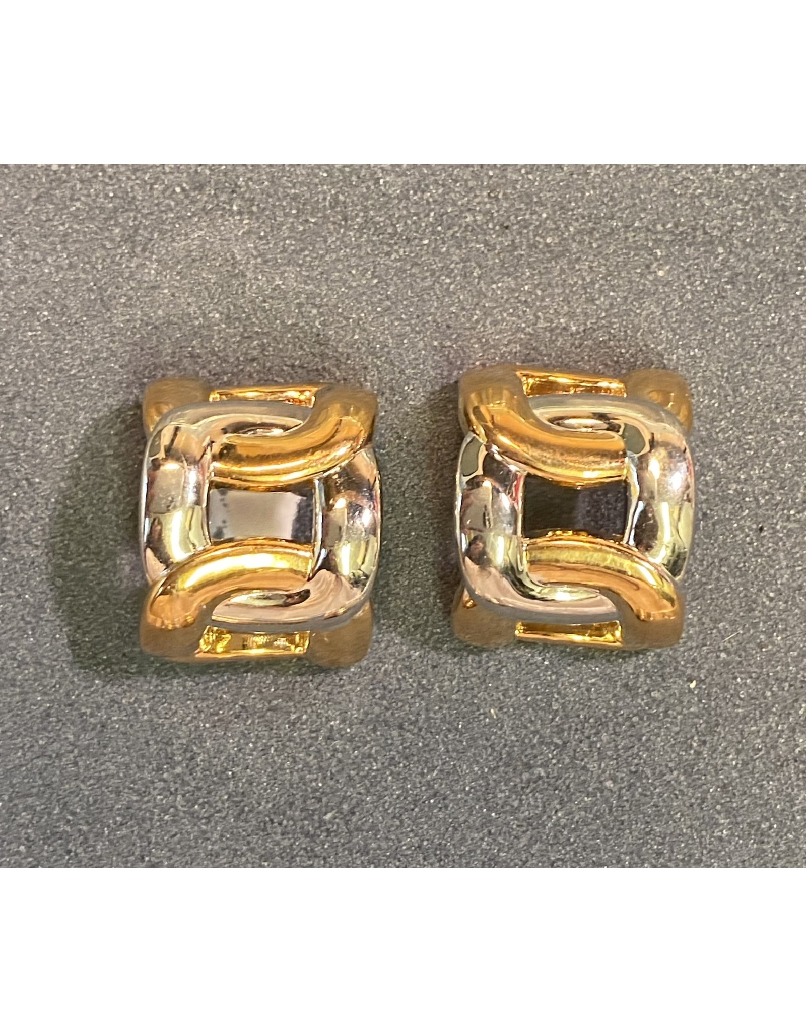 VC Italy Gold and Silver Chain Clip Earrings