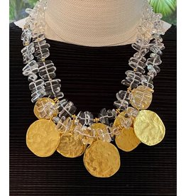 Kenneth Jay Lane 2 Row Gold Coin Drops Necklace