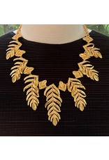 Kenneth Jay Lane Satin Gold Feather Drop