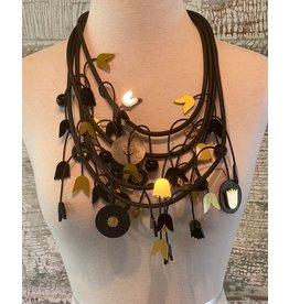 Michaela Malin MTGS Gold Tulip Discs Necklace